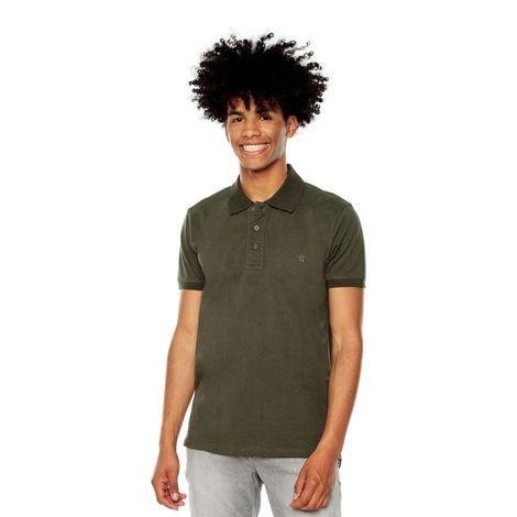 Polo-para-Hombre-Basica-en-Algodon-Youngpolo-verde-dark-olive